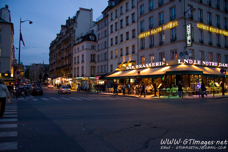 Paris - evening in St. Germaine. The city does not wake up till about 4pm, and really comes alive at night. Most of the streets are lined with cafes/restaurants with sidewalk service.