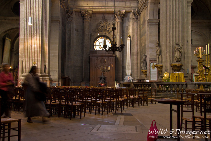 "Paris - Church of Saint Sulpice. If anyone has seen/read the Divinci Code, they will recognize this church as the place where Silas murdered the nun. However, there is no ""rose line"" in this church. The line running trough the floor on the church is a meridian, though. It runs exactly north-south - a meridian. However, this is a larg Gnomon (sun dial). It was used to gain understanding of true mid-day in relation to the 24 hour day. This is a very precise scientific instrument which was installed in Saint Sulpice in the 18th century by astronomers of the nearby observatory, with the full support of the priest of the parish. There are several other Gnomon's in churches throughout Europe."