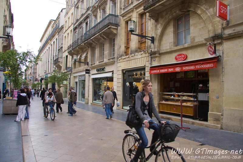 Bordeaux - One of the many pedestrian zones in the city. Many people walk, and bike for transportation. The stories you hear about how trim the French people are, are true.