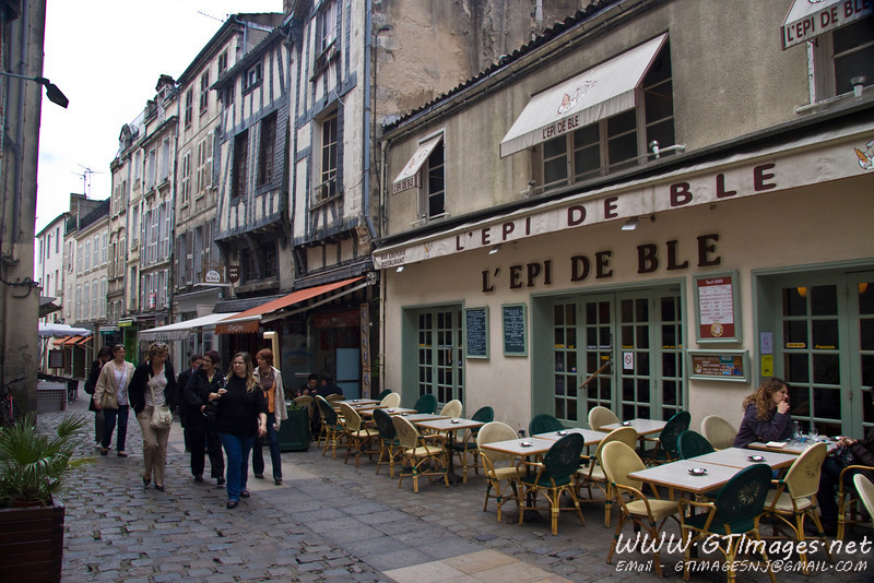 La Rochelle - One of the many back streets lined with shops and cafes where one can wander.