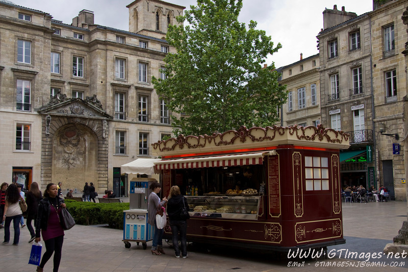 "Bordeaux - A vendor sells pastries and sandwiches in a square. The ""parisiene"" sandwiches were great (whereever you bought them). Nobody can match the french at bread making. Wherever you went, the bread was unbelievable."