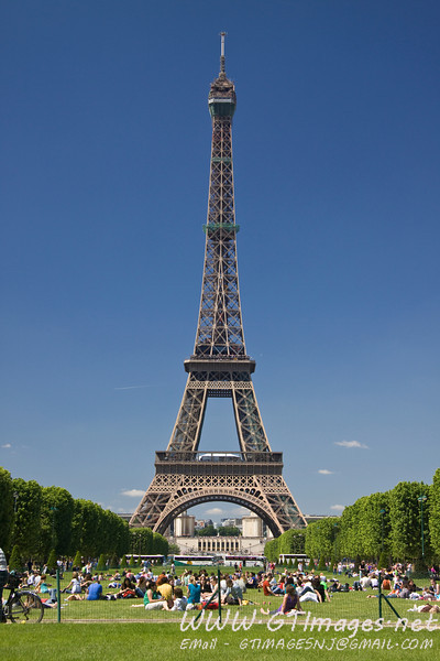 Paris - Eiffel Tower on a cloudless day.
