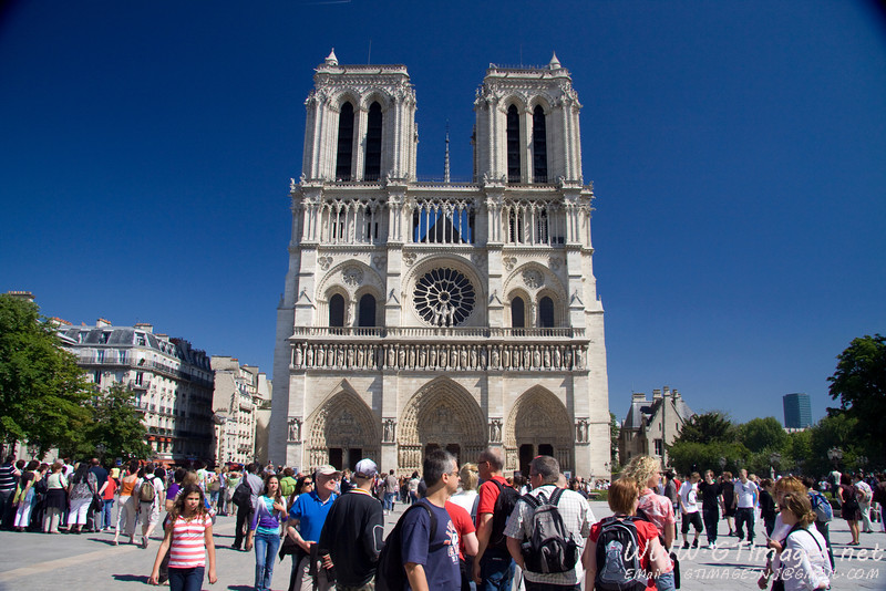 Paris - Outside Notre Dame Cathedral.