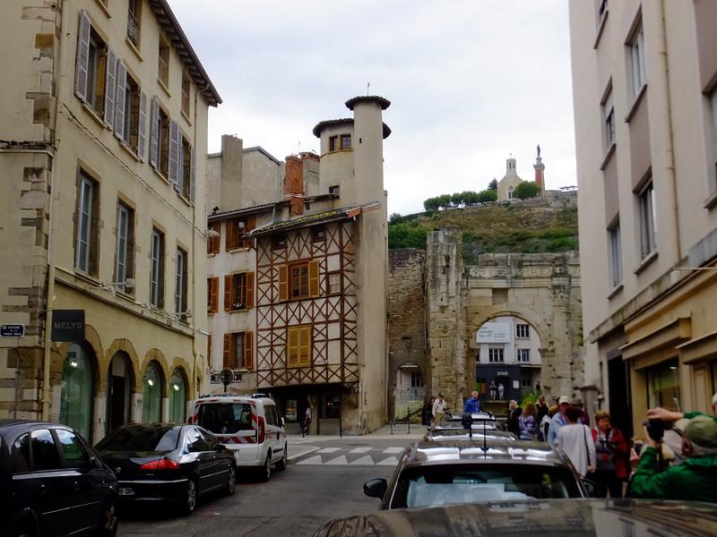 Medieval Vienne looking toward Chapelle Notre Dame de la Salette, The Chapel of the Virgin Mary.