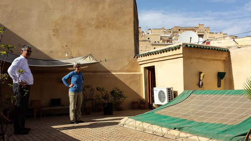 And this is the rooftop terrace of our AirBnB, the only place where there was light as the Riad was windowless.