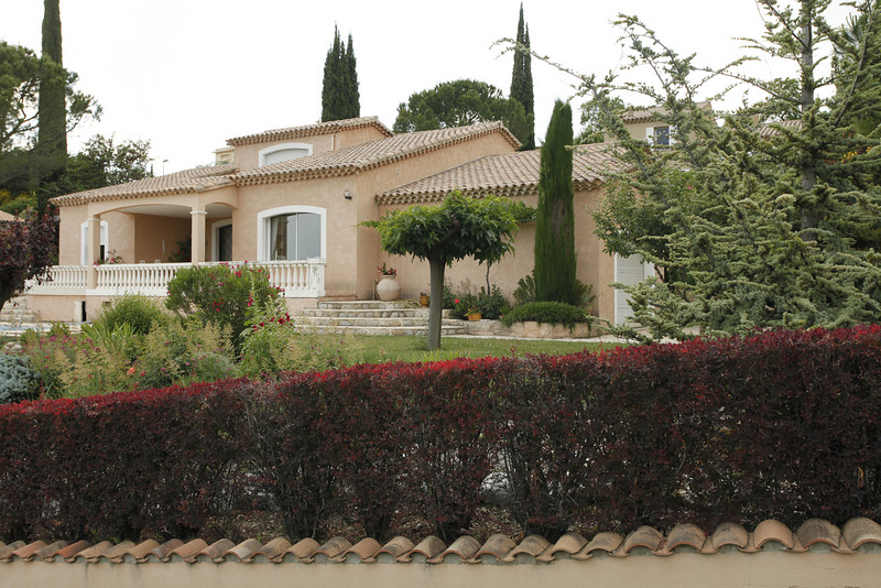 One of the modern villas on the hill in Vinsobres, France.
