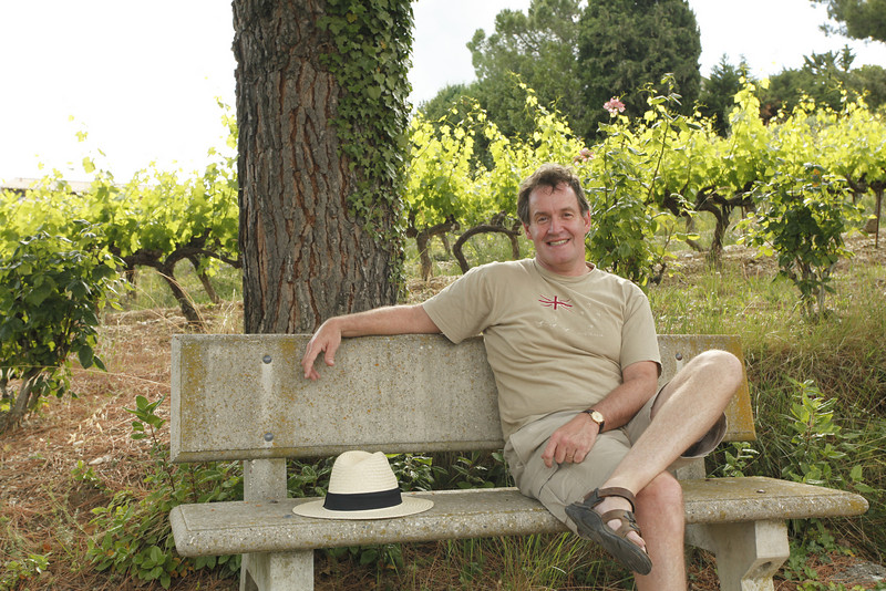 Dad and grape vines, Vinsobres, France.