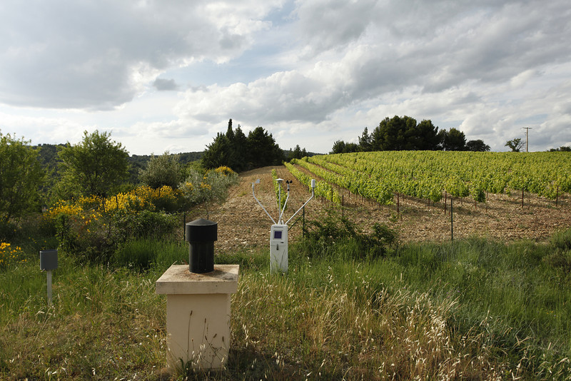 Weather station and vineyard, Vinsobres, France.