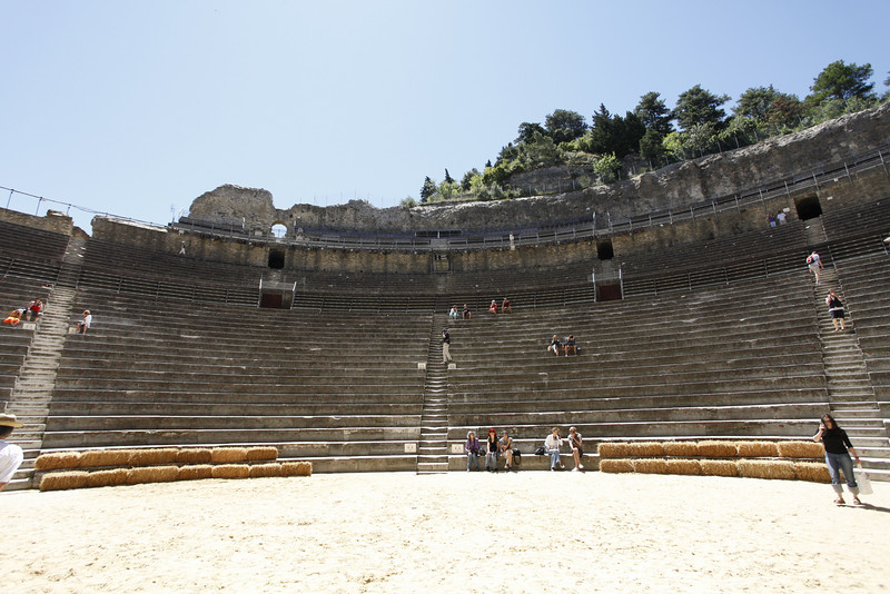 At the Théâtre antique d'Orange. The first rows were reserved for the social elite, then high-ranked military personnel, then high-ranking members of the local government and descending from there, right up until the peasants, prostitutes and labourers in the furthest rows.
