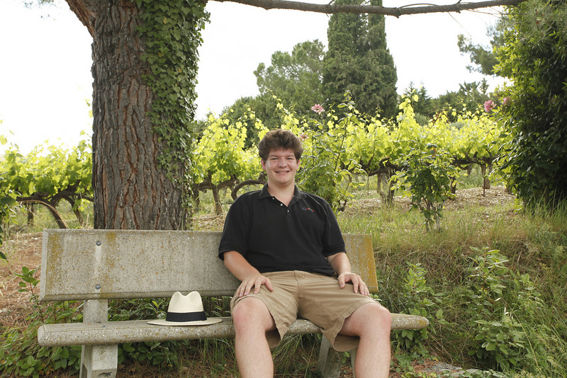 James and grape vines, Vinsobres, France.