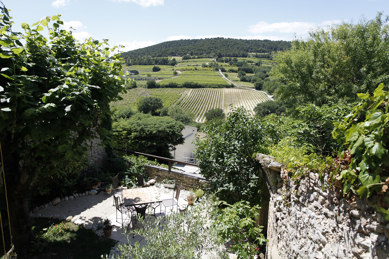 View from the back porch at Chez Hubbert, Vinsobres, France.