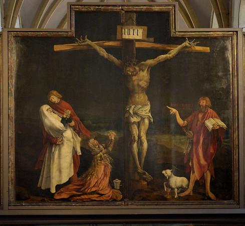 Isenheim altarpiece, Unterlinden Museum, Colmar, Alsace, 17 July 2005 4.  The crucifixion is actually painted on two panels, which were hinged at their outer edges.