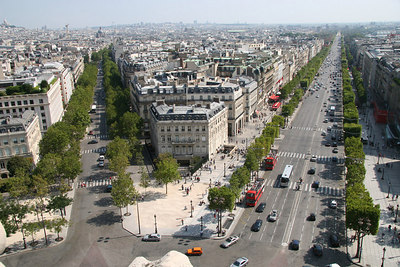 View from top of Arc de Triomphe over Champs-Elysees.