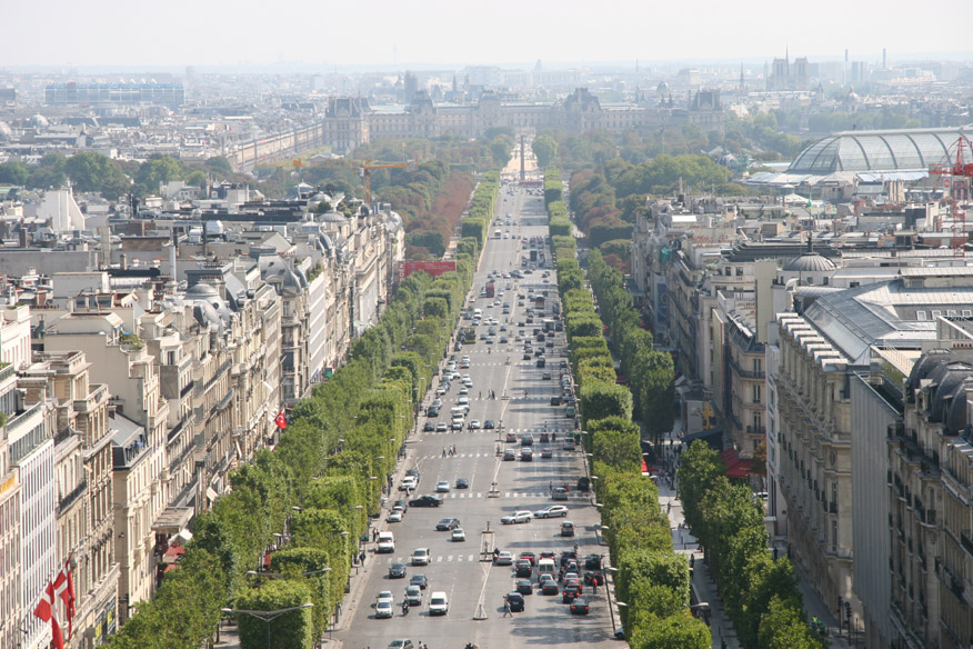 The Champs-Elysess looking towards Musee du Lourve (from top of Arc de Triomphe).