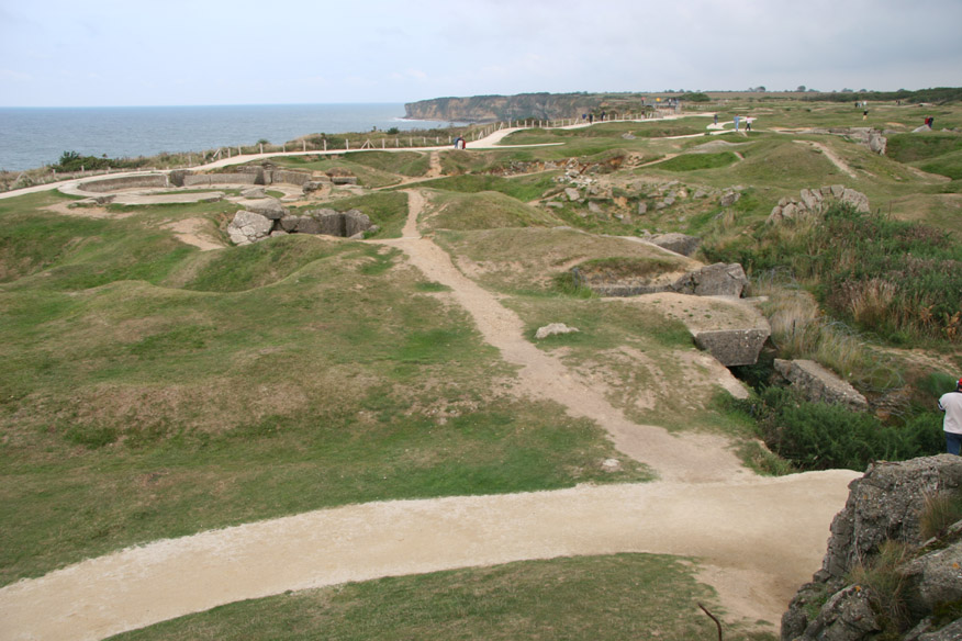 Pointe de Hoc - bomb craters and remains of German gun batteries.