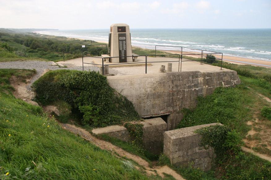 American (?) Memorial and German bunker at Omaha Beach