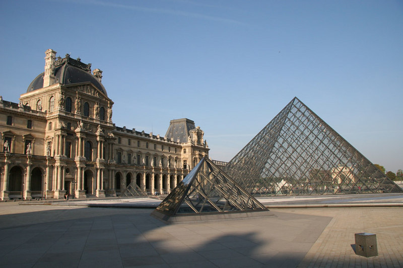 Courtyard of Musee du Lourve and Grande Pyramide (the main entrance into the museum).