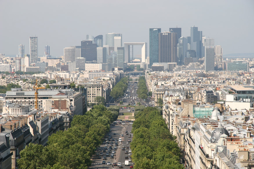 View from top of Arc de Triomphe towards La Defense