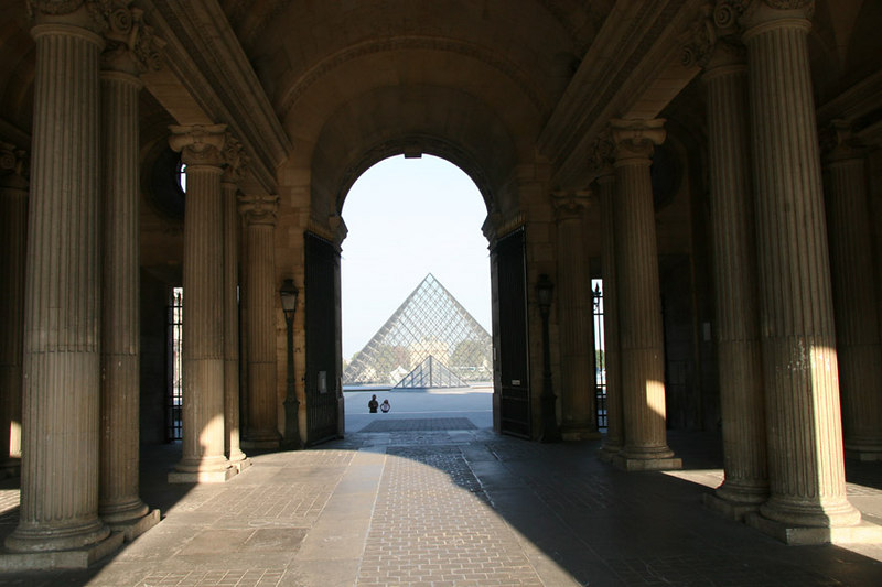 Grande Pyramide seen through the passage from Cour Carree, Musee du Lourve