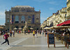 Place Comedie in Montpellier. Note the statue of the Three Graces in front of the elegant theatre.