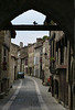 Town gate in Parthenay with obliging pigeon.