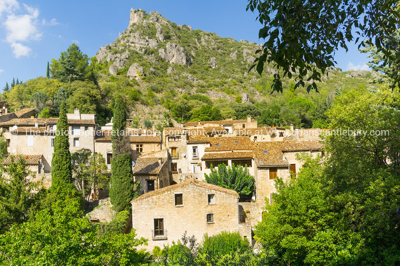 Homes and architecture in valley village historic Southern French Historic Southern French village  St Guilheme Le Desert