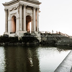 Chateau D'Eau or water tower and pond below on Promenade de Peyrou Montpellier France Roman urban  architecture