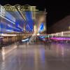 Zoom blur images at night in the Place de la Comédie wonderful architecture and Three Graces fountain on  promenade under night lights and long exposure Place de la Comédie Montpellier France