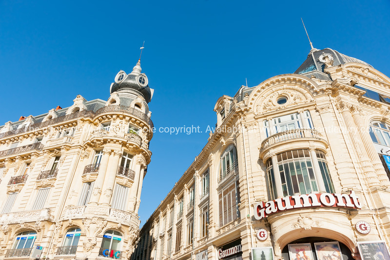Buildings along Place de le Comedie including Beaux-Arts style Gaumont theater