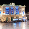 Night in the Place de la Comédie wonderful architecture of historic Opera House on  promenade under night lights and long exposure Place de la Comédie Montpellier France urban & architectural