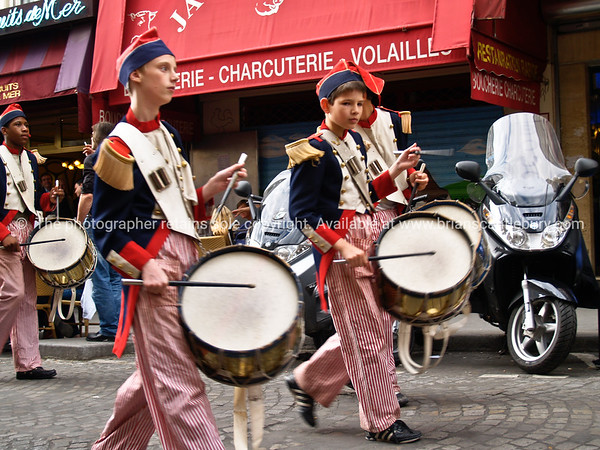 """Musicians, youth drummers in Montmatre street. Paris, International City.<br /> Model released; no, for editorial & personal use. SEE ALSO:   <a href=""""http://www.blurb.com/b/893039-paris-international-city"""">http://www.blurb.com/b/893039-paris-international-city</a>"""
