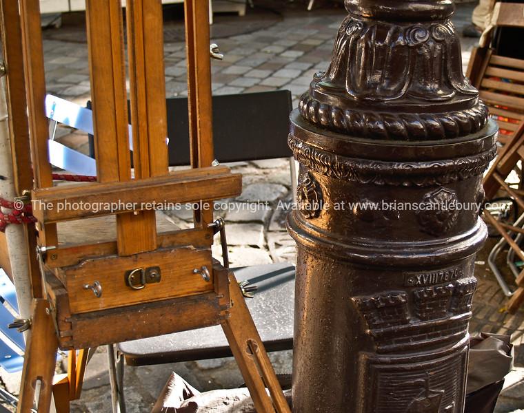 "Artist easel, Montmatre, Paris, France. SEE ALSO:   <a href=""http://www.blurb.com/b/893039-paris-international-city"">http://www.blurb.com/b/893039-paris-international-city</a>"
