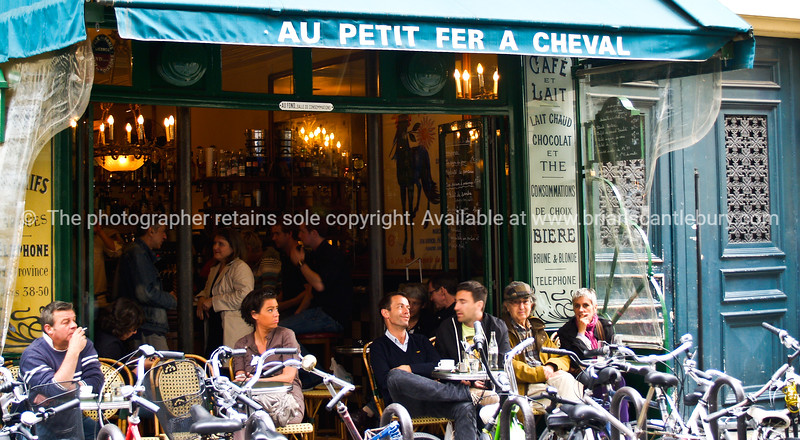"Parisian Cafe, Au Petit fer a cheval, Paris, International City.<br /> Model released; no, for editorial & personal use. SEE ALSO:   <a href=""http://www.blurb.com/b/893039-paris-international-city"">http://www.blurb.com/b/893039-paris-international-city</a>"