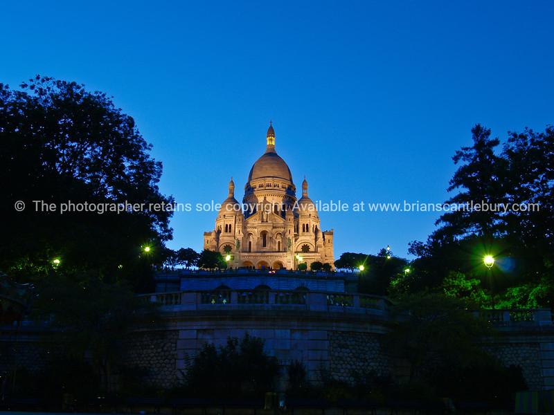 "Sacre Coeur Basilica, Montmatre, evening light against blue sky. France. SEE ALSO:   <a href=""http://www.blurb.com/b/893039-paris-international-city"">http://www.blurb.com/b/893039-paris-international-city</a>"