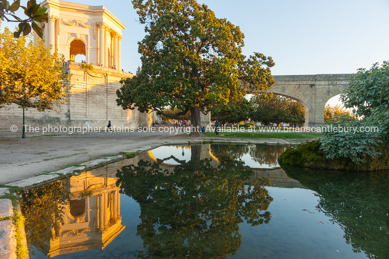 Chateau D'Eau or water tower and pond below on Promenade du Peyrou Montpellier France Roman urban  architecture