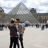 "Tourists pose in front of Louvre, Paris, International City. SEE ALSO:   <a href=""http://www.blurb.com/b/893039-paris-international-city"">http://www.blurb.com/b/893039-paris-international-city</a>"