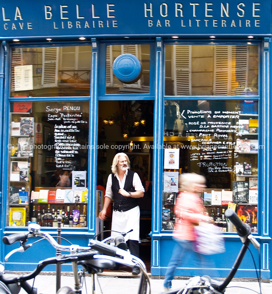 """La Belle Hortense, bar and library, Paris, International City. Shop in Marais, Paris named after the novel by Jacques Roubaud.<br /> Model released; no, for editorial & personal use. SEE ALSO:   <a href=""""http://www.blurb.com/b/893039-paris-international-city"""">http://www.blurb.com/b/893039-paris-international-city</a>"""
