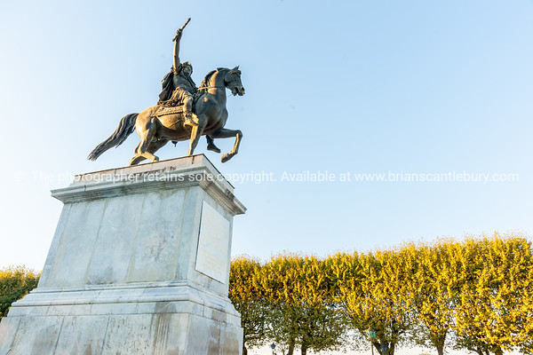 Low angle point of view King Louis X1V in Jardin de Peyrou, Montpellier France