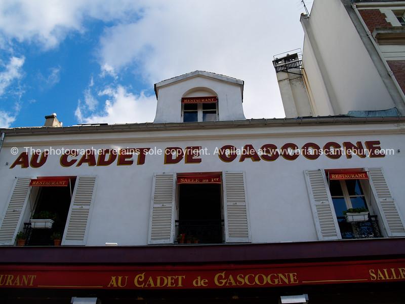 "Au cadet de Gascogne, Montmatre, Paris. SEE ALSO:   <a href=""http://www.blurb.com/b/893039-paris-international-city"">http://www.blurb.com/b/893039-paris-international-city</a>"