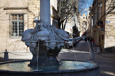 Quatre Dauphins fountain, Aix en Provence