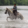 In the River (Vidourle) is used to display horsemanship, wet bulls and wet Gardiens (male and female!)