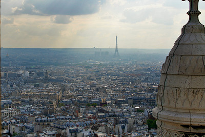 My first view of the Eiffel Tower - a bit smoggy but you can just see the tower in the distance.
