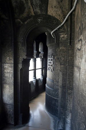 The narrow corridor on the centre upper dome.  Very foot worn and slippery.