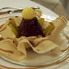 pear, steeped and baked and topped with a bonbon sitting a a skirt of crispy crepe trimmed with chestnut  sauce. Hotel de Poste, St. Geniez d'Olt