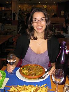 """Julie had a """"tajine de poulet au citron""""; déjà preparé roast chicken stew in a clay pot surrounded w legumes, onions & zucchini basted with lemon. Very good! And no dairy."""