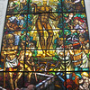 A large stained-glass window; an ode to wine makers
