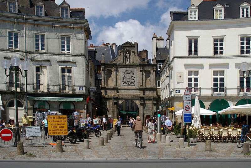 Vannes 1. A lovely town on the Gulf of Morbihan. One of the gates to the city, through the ramparts which still exist to a large extent.