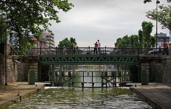 The Shot of the Shoot Film-makers on a lock bridge over the St-Martin Canal June, 2008