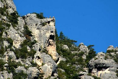 If you look closely you can see Griffon Vultures perched on the rock ledge in the upper left portion of this photo.