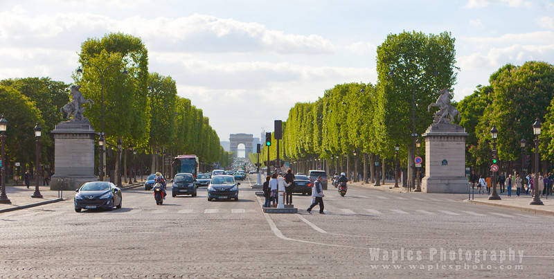 Arc de Triomphe at the end of Ave Champs-Élysées